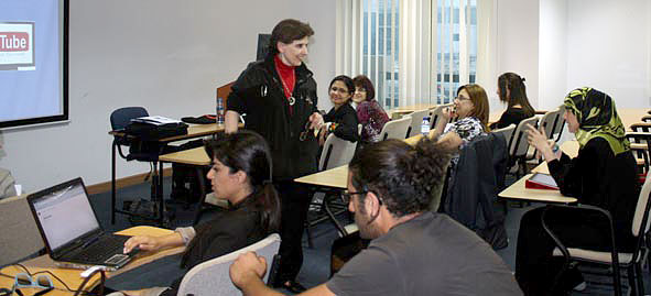 Magda Abu-Fadil speaks to UOWD students