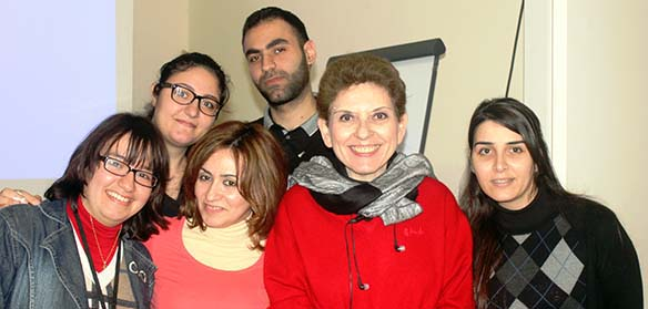 Abu-Fadil and CRTDAs Hayat Mershad with Beirut journalists