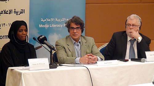 Qatar Higher Education Council's Asmaa Al Mohanadi, UN Alliance of Civilizations' Jordi Torrent and DCMF's Jan Keulen
