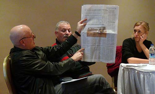 Peasgood points to Gaelle Sundelin's (right) Jordan Times article