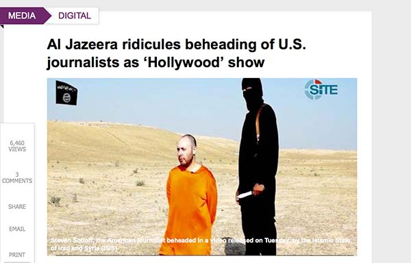 Screen shot of Al Arabiya's Take on Aljazeera's Beheading Report
