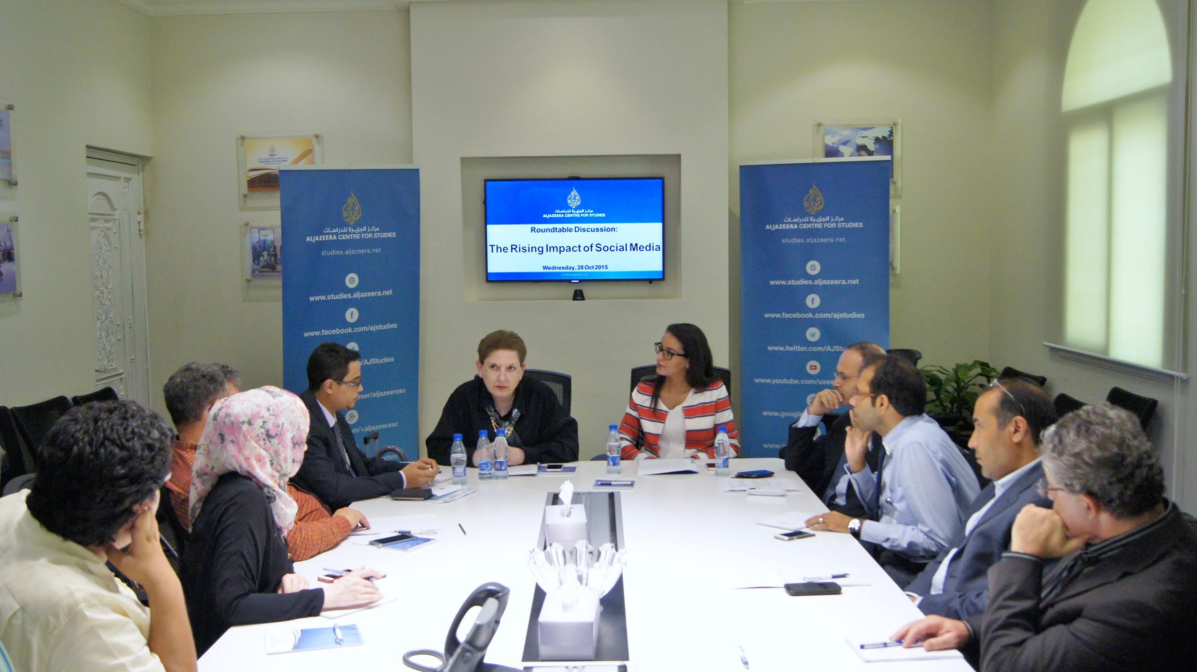 Magda Abu-Fadil addresses Aljazeera Center for Studies roundtable
