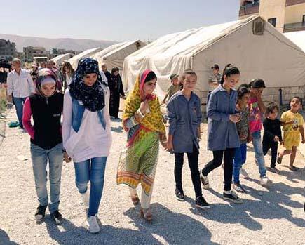Nobel Peace Prize laureate Malala Yousefzai visits Syrian refugees in Lebanon (courtesy Eason Jordan)