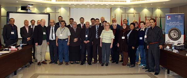 Magda Abu-Fadil (3rd from right) at Beirut conference on safety for journalists course in college curricula