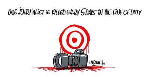 One journalist is killed every five days in the line of duty