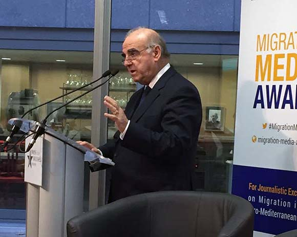 Maltese Foreign Minister George Vella announcing Migration Media Award launch