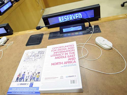 Presentation of MENA MIL book co-edited-co-authored by Abu-Fadil (UNAOC photo)